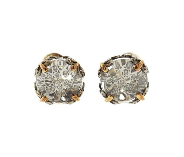 John Hardy 18K Gold Sterling Silver Clear Stone Diamond Earrings