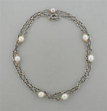David Yurman 18K Gold Sterling Pearl Long Necklace