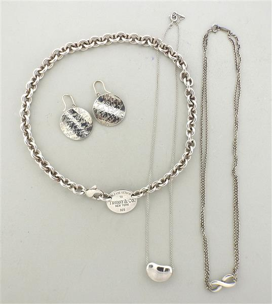 Tiffany & Co. Sterling Silver Earrings Necklace Lot of 4