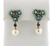 Antique 14K Gold Turquoise Diamond Sapphire Pearl Earrings