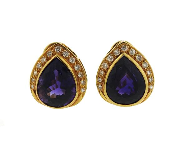 18k Gold Diamond Amethyst Earrings