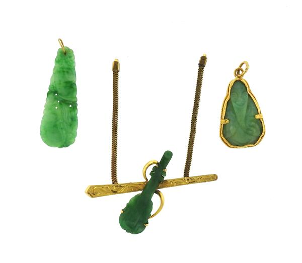 14k and High Karat Gold Carved Jade Jewelry Lot of 3