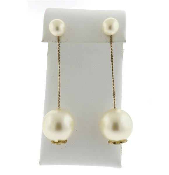 Chanel Double Pearl Long Drop Costume Earrings