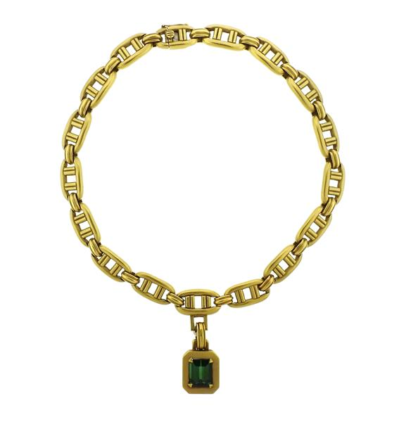 1970s Kieselstein Cord 18K Gold Tourmaline Pendant Necklace