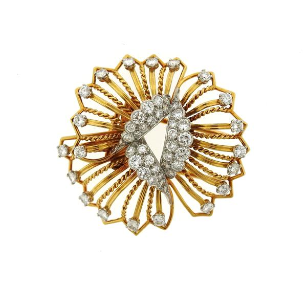 Cartier 18K Gold 3.00ctw Diamond Flower Brooch Pin