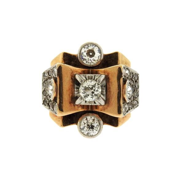 Retro 18K Gold Platinum Diamond Ring