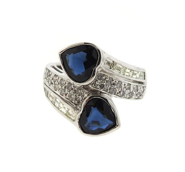 18K Gold Diamond Blue Stone Bypass Heart Ring