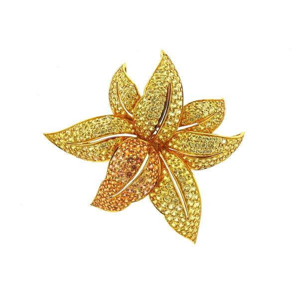18K Gold Multi Color Sapphire Flower Brooch Pin