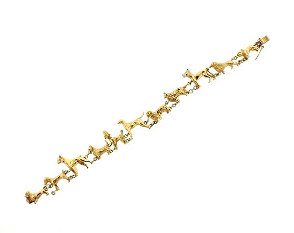 Antique 14K Gold Dog Bracelet