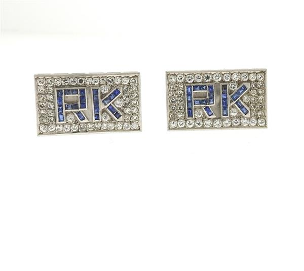 18k Gold RK Diamond Sapphire Cufflinks