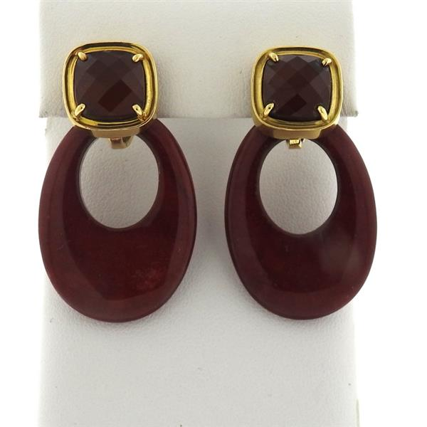 Andrew Clunn 18k Gold Red Stone Doorknocker Earrings