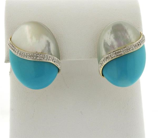 14k Gold Mother of Pearl Turquoise Diamond Earrings