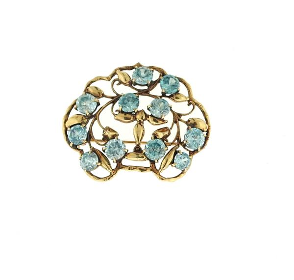 Seaman Schepps 14k Gold Blue Zircon Brooch Pin