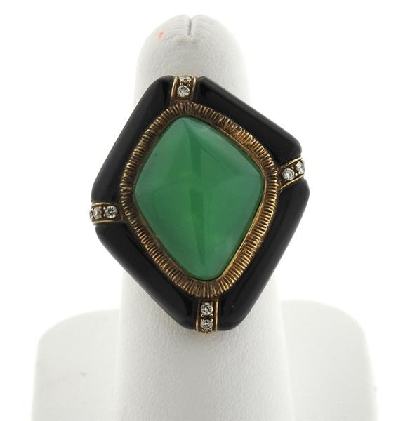 14k Gold Jade Diamond Onyx Ring