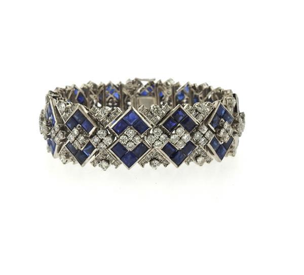 Impressive 14k Gold Diamond Sapphire Bracelet