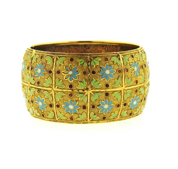 18k Gold Enamel Wide Bangle Bracelet