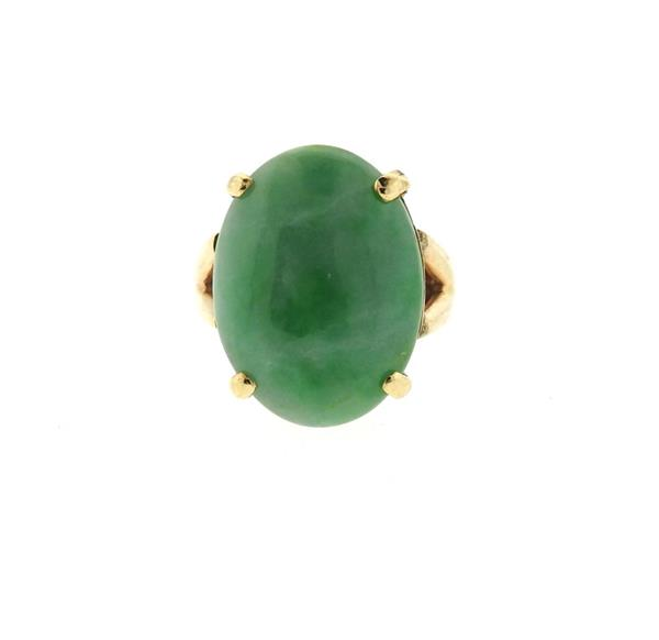 14k Gold Oval Jade Ring
