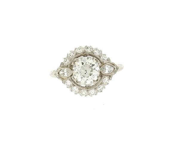 Antique Art Deco Platinum Diamond Engagement Ring