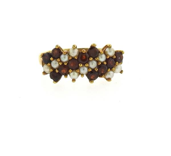 Antique 18k Gold Pearl Garnet Ring