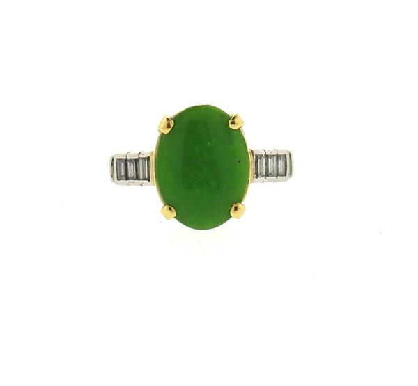 Platinum 18k Gold Jade Diamond Ring