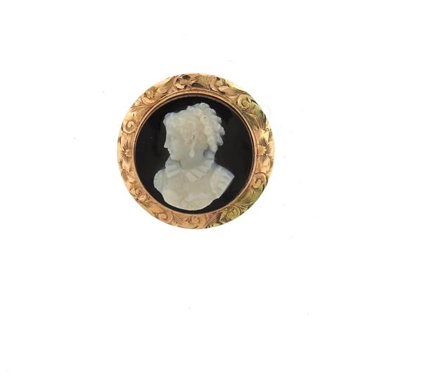 Antique 14k Gold Hardstone Cameo Brooch Pin