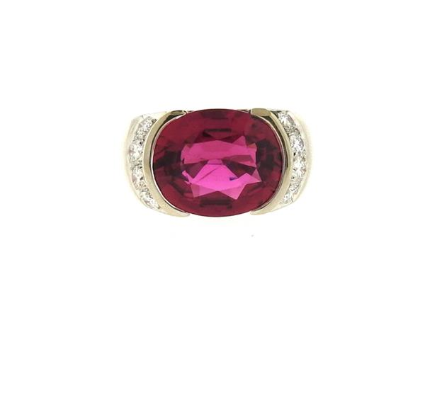 18k Gold Diamond 6.65ct Rubellite Ring