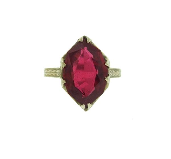 Art Deco 20k Gold Red Stone Ring