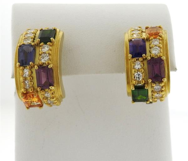 18k Gold Diamond Tourmaline Amethyst Half Hoop Earrings