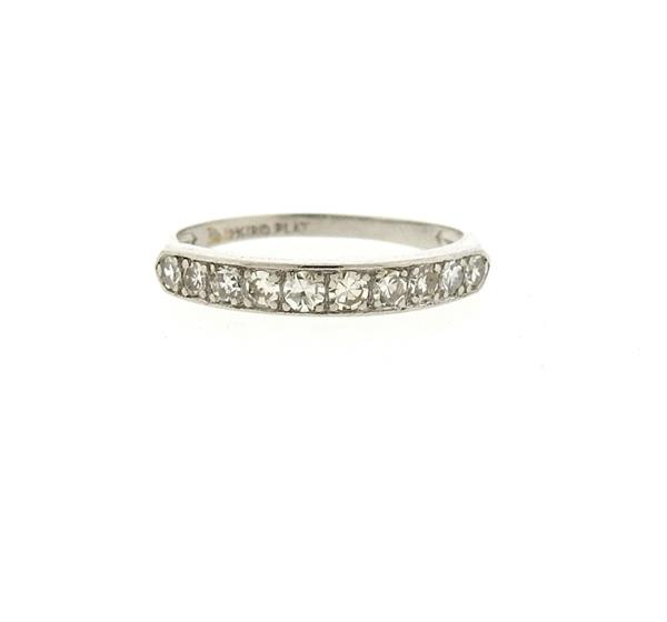 Art Deco Platinum Diamond Half Band Ring