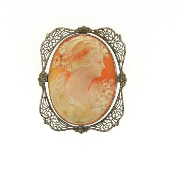 Antique Filigree 14k Gold Shell Cameo Brooch