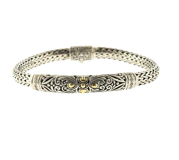 18k Gold Sterling Silver Diamond Bracelet