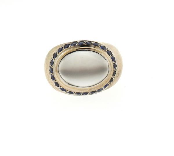 Ramon 18k Gold Moonstone Sapphire Ring