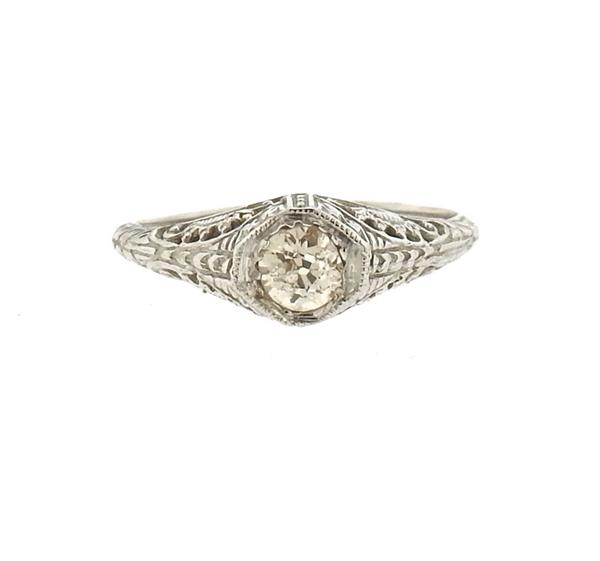 Art Deco Fliligree 14k Gold Diamond Engagement Ring