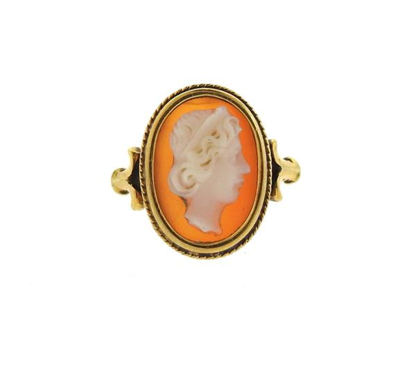 Antique 18k Gold Shell Cameo Ring