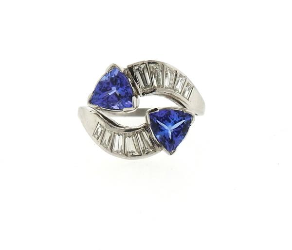Platinum Diamond Tanzanite Bypass Ring