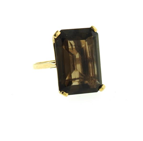 14k Gold 23.5ct Smokey Topaz Ring