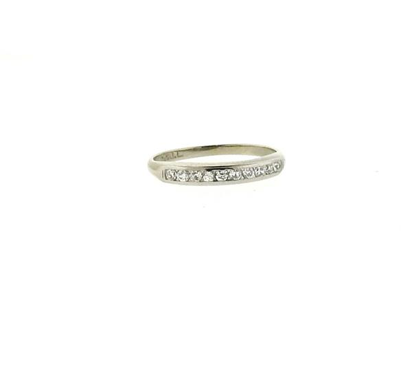 18k Gold Palladium Diamond Half Band Ring