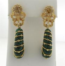 Bochic 18k Gold Carved Malachite Diamond Drop Earrings