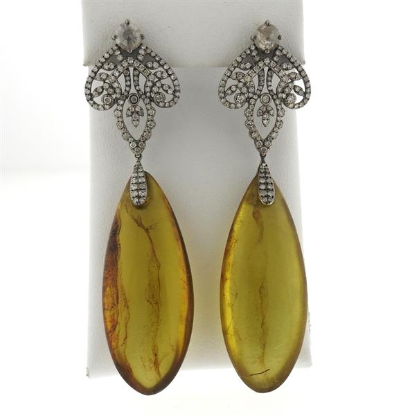 Bochic Large 18k Gold Amber Diamond Drop Earrings