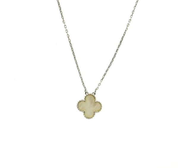 18k Gold Mother of Pearl Clover Pendant Necklace