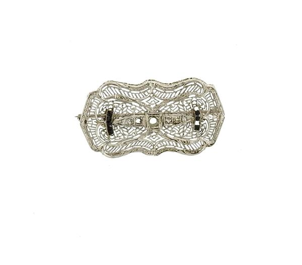 Art Deco Filigree 14k Gold Diamond Onyx Brooch