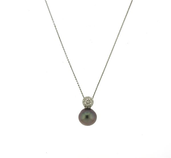 Platinum 14k Gold Tahitian Pearl Diamond Pendant Necklace