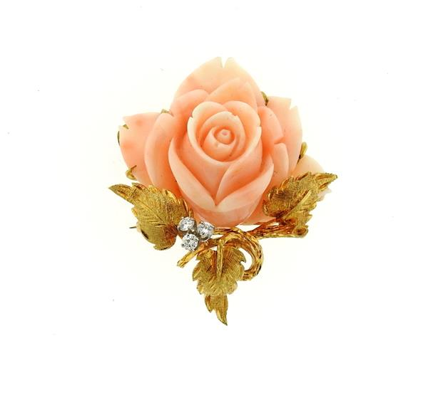 18k Gold Carved Coral Diamond Rose Brooch