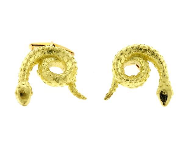18k Gold Cobra Snake Motif Large Cufflinks