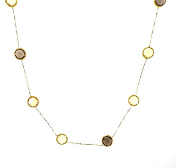 14k Gold Quartz Station Long Necklace