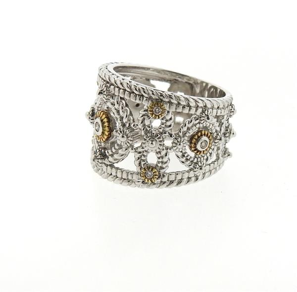 sterling silver 18k gold wide band ring