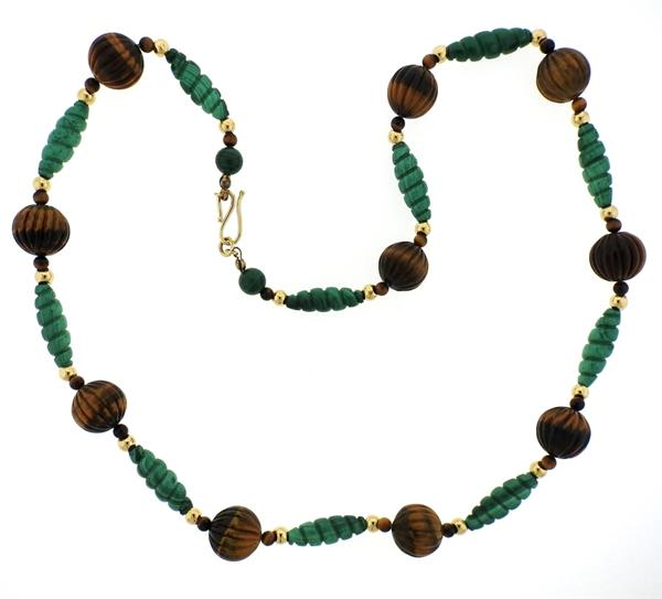 14k Gold Carved Malachite Tiger's Eye Necklace