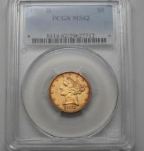 PCGS MS62 1906 D 5 Dollar Half Eagle Liberty Gold US Coin
