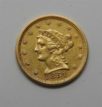 1851 Liberty Head 2.5 Dollar Gold US Coin