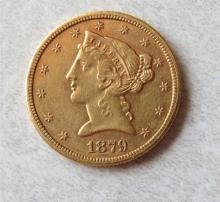 1879 S Liberty Head 5 Dollar Half Eagle Gold US Coin